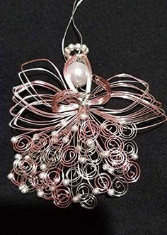 Pink and Silver Handmade Guardian Wire Angel Ornament Beaded Ornaments, Angel Ornaments, Diy Christmas Ornaments, Christmas Angels, Holiday Crafts, Christmas Spider, Beaded Angels, Angel Crafts, Ornament Tutorial