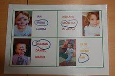 namenbingo start van het jaar. foto en drie namen erbij. noem een naam. kinderen herkennen de foto bij de naam en moeten daarna de juiste naam omcirkelen. ??? vrij vertaalt uit het portugees?/spaans?