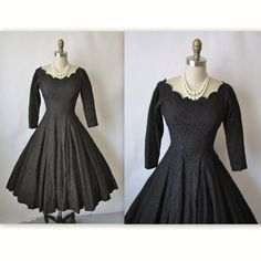 50's Cocktail Dress // Vintage 1950's Black Lace Full Circle Cocktail Party Dress