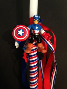 Greek Easter Candle Labada Captain America by pinelopiCreations, $22.00 Greek Easter, Easter 2015, Easter Treats, 4th Of July Wreath, Birthday Candles, Arts And Crafts, Decorated Candles, Easter Candle, Baptism Ideas