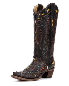 """<p>Every inch of the Corral butterfly western boot is a beauty to behold. Boot features a distressed dark brown leather foot under a matching 13"""" scalloped leather shaft. Butterfly accents, collar, vamp, and heel counter feature turquoise, yellow, red, and orange leather inlay detail. 2"""" cowgirl heel. Single stitched welt.</p>"""