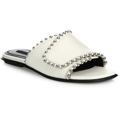 Glossy studs accentuate these smooth leather slides Leather upper Open-toe Slide-on style Leather lining and sole Imported. Women's Shoes - Contemporary Womens…
