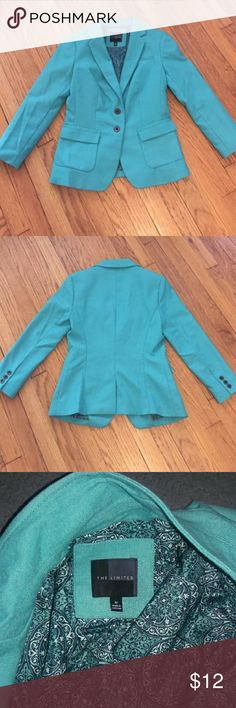 THE LIMITED Turquoise Blazer Great comdition! 76% polyester 22% rayon 2% spandex The Limited Jackets & Coats Blazers