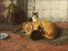 Carl Emil Mücke German) was a genre painter of mostly domestic interior scenes with women, girls and lively cats and kittens. Cat Colors, Farm Yard, Vintage Cat, Sculpture, Cute Illustration, Love Art, Cat Art, Art History, Cute Cats