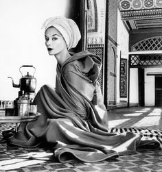 """""""Woman in Palace""""  Photo: Irving Penn (1917 - 2009) Morocco, 1951  Irving Penn was an American photographer known for his fashion photography, portraits, and still lifes. Penn's career included work at Vogue magazine, and independent advertising work for clients including Issey Miyake, and Clinique."""