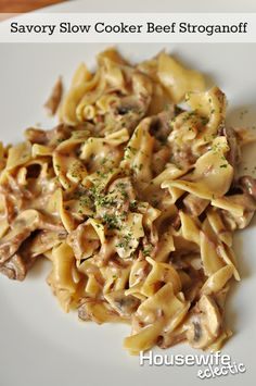 Housewife Eclectic: Savory Slow Cooker Beef Stroganoff. This easy dinner recipe is perfect for busy days.