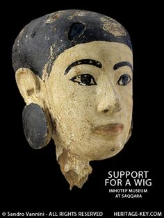 wig stand model head, ancient Egyptian 18th dynasty