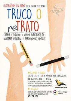 Cartel para el evento Truco o reTrato de la asociación Garabattagge Ilustra. Adriana Santos