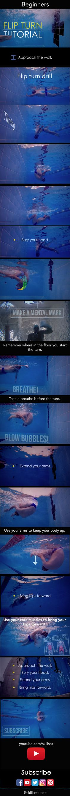 Flip turn tutorial for beginners. How to swim freestyle. Learn more at youtube.com/skillsnt