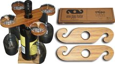 These cleverly designed wine glass holders come as a set of two which sit on top of your wine bottle and can hold up to 4 wine glasses around the bottle.  Forms a useful table centrepiece and works well in conjuction with the Wine Stand.    This product is handcrafted from Rimu or Kauri which are native New Zealand timbers.    Box Dimensions:-   Width:   26cm   Length:  70cm   Depth:   2cm      Approx Weight:  0.11kgs