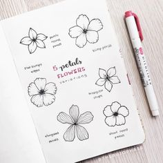 30 Super Cute How To Doodles For Your Bullet Journal Bullet Journal Aesthetic, Bullet Journal Notes, Bullet Journal Ideas Pages, Bullet Journal Inspiration, Bullet Journal Goals Page, Journal Pages, Botanical Line Drawing, Floral Drawing, Drawing Art