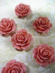 10 pinky coral 20mm rose resin cabochons by bunnysundries on Etsy (Craft Supplies & Tools, Jewelry & Beading Supplies, Cabochons, cabochon, jewelry, cab, flower, kawaii, pink, peach, rose, resin, flower cabochon, flower cab, 20mm, 20mm rose)
