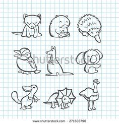 A vector illustration of happy australian animals set in line art doodle or scribble drawing style like tasmanian devil, wombat, echidna, kookaburra, Line Art Vector, Free Vector Art, Wombat Pictures, Cute Wombat, Cute Australian Animals, Tier Doodles, Animal Doodles, Australia Animals, Doodle Art Journals