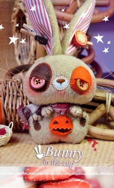 Plush Bunny Halloween toy gift woodland rabbit by BunnyintheCup, $39.00