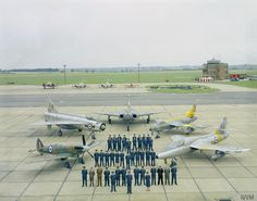 Aircraft past and present of the Central Fighter Establishment (CFE) at RAF West Raynham, Norfolk, in October 1962, as the unit moved to RAF Binbrook in Lincolnshire. The aircraft pictured here represent the various aircraft used by the constituant organisations which merged to form the CFE. The aircraft are (left to right): Supermarine Spitfire (P5853) of the Central Fighter Establishment, English Electric Lightning F.1 (XM136) of the Air Fighting Development Squadron, Gloster Javelin…