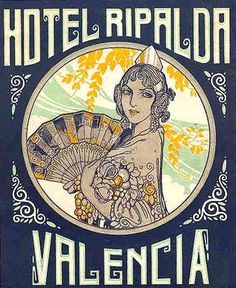 Spain Hotel Ripalda Valencia Spain Vintage Luggage Label Digital Image Download  No. 4763 Buy 3 Images and Get 2 Free. $1.00, via Etsy.