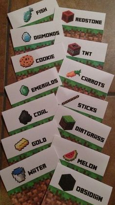 Minecraft Sign Tent Cards, Customized for Your Party Minecraft Party #minecraft Minecraft Birthday