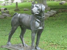 Dog statue guarding his family at Oak Hill Cemetery in Evansville Indiana