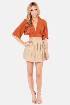 LULUS Exclusive Tie the Hot Rust Orange Crop Top at LuLus.com! Cute outfit