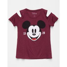 Disney Mickey Mouse Girls Cold Shoulder Tee ($20) ❤ liked on Polyvore featuring tops, t-shirts, graphic tees, disney t shirts, short sleeve t shirts, graphic t shirts and mickey mouse tee