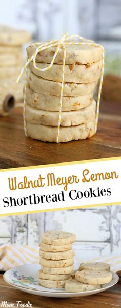Walnut Meyer Lemon Shortbread Cookies are a delightful bright addition to any cookie platter. A lightly sweet and nutty lemon shortbread cookies recipe. Meyer Lemon Recipes, Lemon Desserts, Köstliche Desserts, Delicious Desserts, Dessert Recipes, Plated Desserts, Lemon Shortbread Cookies, Shortbread Recipes, Holiday Baking