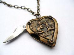 Retro Heart Pocket Knife
