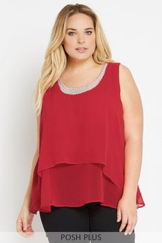 Bijou Beauty Beaded Chiffon Top Plus Size