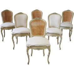 19th Century Louis XV Antique French Cane Dining Chairs with Original Paint