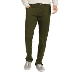 Men's IZOD Weekend Washed Straight-Fit 5-Pocket Pants, Size: 36X34, Med Green