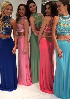 Group prom with same dress but different colours. Colours are: dark blue, light pink, lime green, hot pink and dark blue