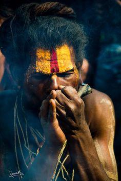Sadhu Smoking Ganja (by Ramesh Adhikari)