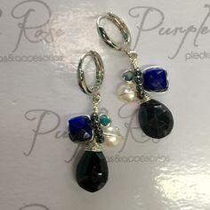 Huggies alambradas de espinela con lapislázuli
