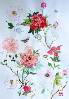 Peony Rose Sketches by Chris Chun 2015