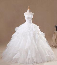 2013 New Design Customade Bridal Wedding Dress Princess Wedding Dress Ball Gown Dress Organza Fabric Sweatheart Neckline Ivory
