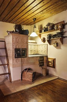 Wood Stove Cooking, Kitchen Stove, Rustic Kitchen, Vintage Kitchen, Stair Shelves, Small Log Cabin, Simply Home, Herd, Cabin Interiors