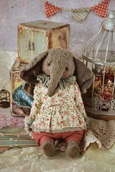 Emmi : OOAK Vintage Style Sweet Artist Elephant by Natali