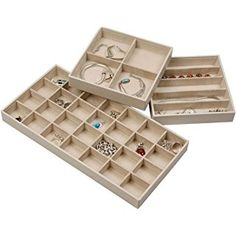 Stock Your Home Stacking Faux Leather Jewelry Trays Set of 3 with Dual Jewelry Organization and Jewelry Storage Functionality