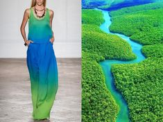 Striking Fashion Photos Paired with Nature Scenes They're Inspired By Look Fashion, Fashion Photo, Marine Style, Nature Sketch, Coral, Teal Blue, Blue Green, Turquoise, Photo L