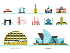 looks like Rifle Paper Rip off. ANna bond should sue. Singapore and Sydney landmarks by kellianderson City Icon, Vintage Drawing, City Illustration, Wanderlust, Illustrations, Travel Design, Pictogram, Design Reference, Icon Design