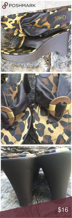 Carlos Santana Leopard Print Wedge Thong Sandals Carlos Santana Leopard Print…
