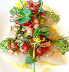 Crudo with Green Strawberries   In our Best Things We Ate series, we roundup the best restaurant meals, blog recipes + at-home cooking adventures of the month. Bon Appetit!
