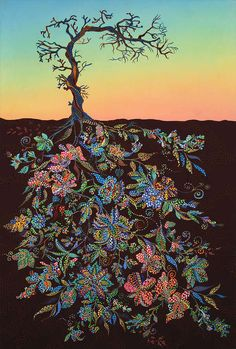I imagine that this is what joy looks like----Vibrant Tree Root Illustrations