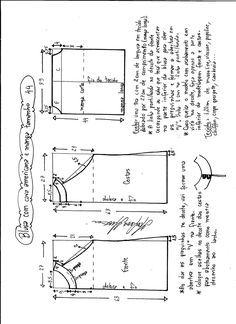 Esquema de modelagem de blusa com cava americana e manga tamanho 44.