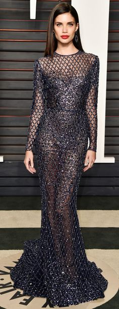 Sara Sampaio in Zuhair Murad Couture Fall Winter at the 2016 Vanity Fair Oscar Party. Style Couture, Couture Fashion, Runway Fashion, Sara Sampaio, Looks Street Style, Vanity Fair Oscar Party, Red Carpet Dresses, Mode Outfits, Couture Dresses