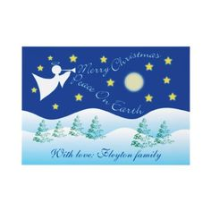 Peace on Earth Christmas Angel flat card by zazzleproducts1 $1.70
