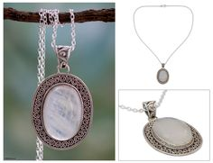 Artisan Jewelry Moonstone and Sterling Silver Necklace - Luminous Light (NOVICA)