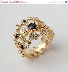 HOLIDAY SALE  CORAL Black Gemstone Ring Black and by AroshaTaglia