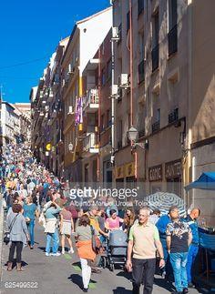 Stock Photo : Spain, Madrid, El Rastro flea market -Mira el Rio Baja street