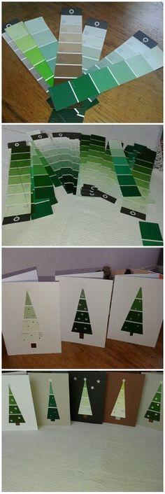 Weihnachtskarten aus Farbmusterstreifen