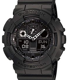 G-SHOCK The GA 100 Military Series Watch in Black,Watches for Men. Living up to G-Shock's reputation for big case designs. in case size with the introduction of the X-Large G. Stealth, matte black resin band analog and digital watch with black face. G Shock Watches Mens, G Shock Men, Sport Watches, Cool Watches, Watches For Men, Black Watches, Men's Watches, Jewelry Watches, Timex Watches